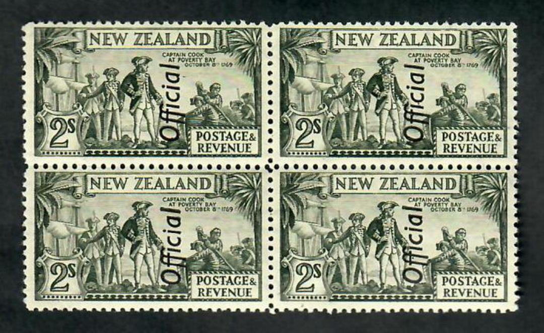 NEW ZEALAND 1935 Pictorial Official 2/- Captain Cook. Perf 12½. Probably the coarse paper. Block of 4. - 20124 - UHM image 0