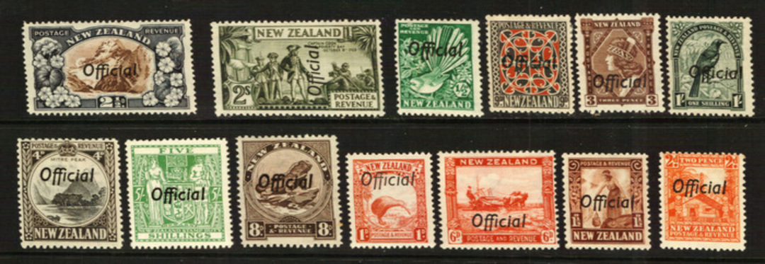 NEW ZEALAND 1935 Pictorial Official and 5/- Arms Official. Set of 14. - 21801 - Mint image 0