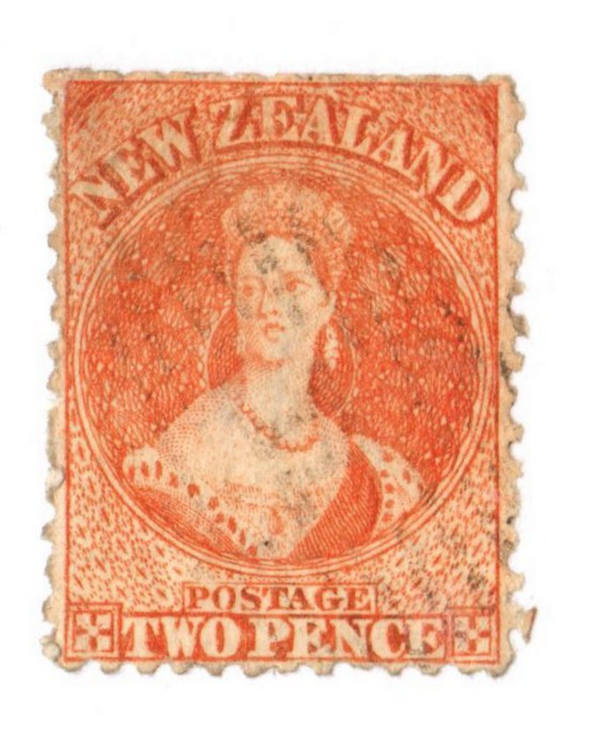 NEW ZEALAND 1862 Full Face Queen 2d Vermilion. - 3583 - Used image 0