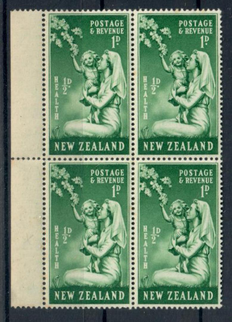 """NEW ZEALAND 1949 Health 1d Green with flaw known as the """"bandaged thumb"""". Block of 6. - 20260 - UHM image 0"""