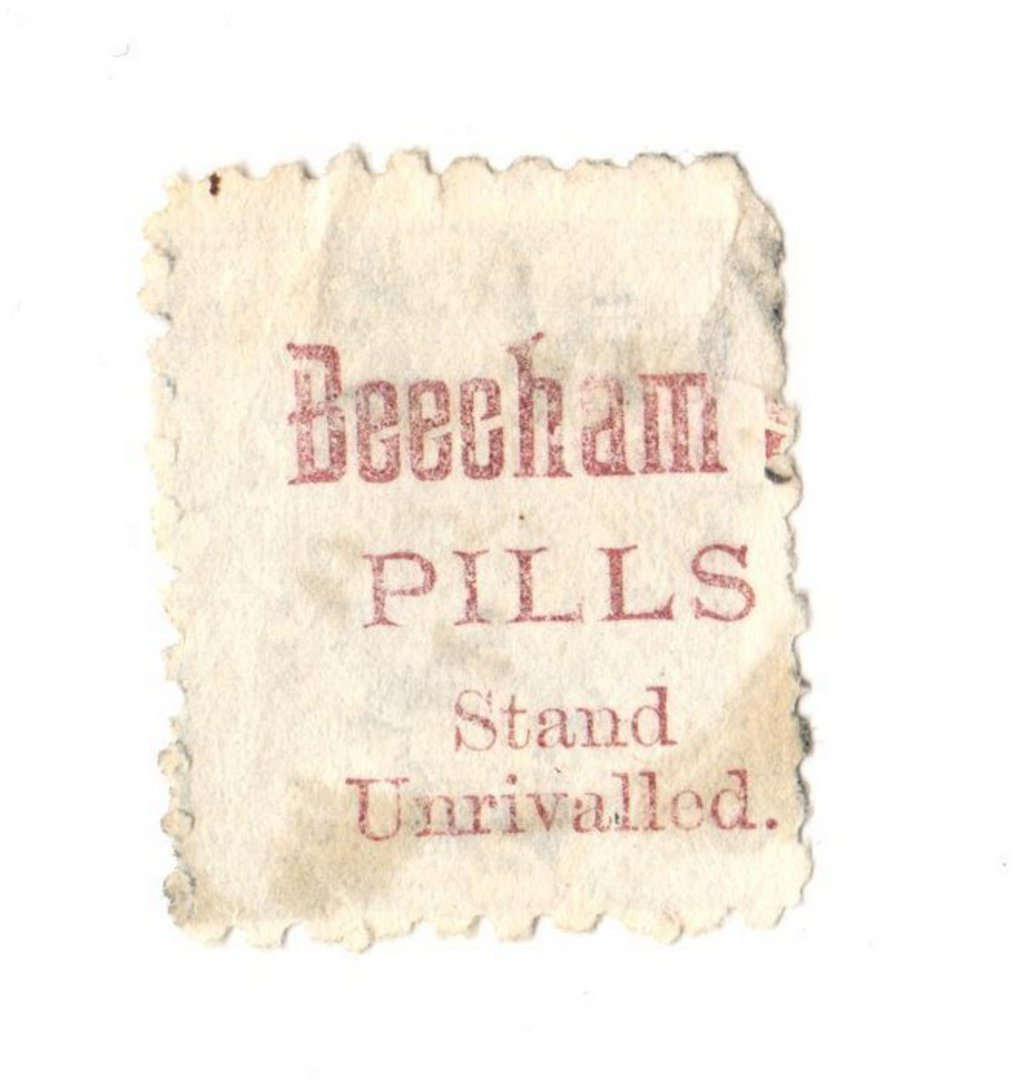 NEW ZEALAND 1882 Victoria 1st Second Sideface 2½d Blue. Beechams Pills stand unrivalled. Perf 10. In mauve. - 3974 - Used image 0