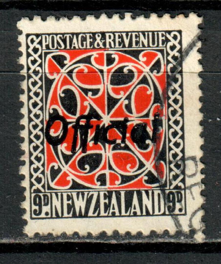 NEW ZEALAND 1935 Pictorial Official 9d Maori Panel.  Perf 14x15. Multiple watermark. Overprinted in Black. - 4179 - VFU image 0
