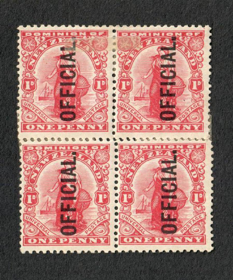NEW ZEALAND 1909 1d Dominion Officials. Offset printing. Block of 4 ( 2 pairs held by hinges). - 20623 - Mint image 0