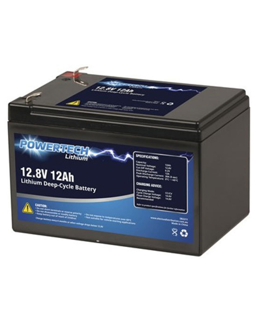 POWERTECH 12.8V 12Ah Lithium LiFePO4 Deep Cycle Battery image 0
