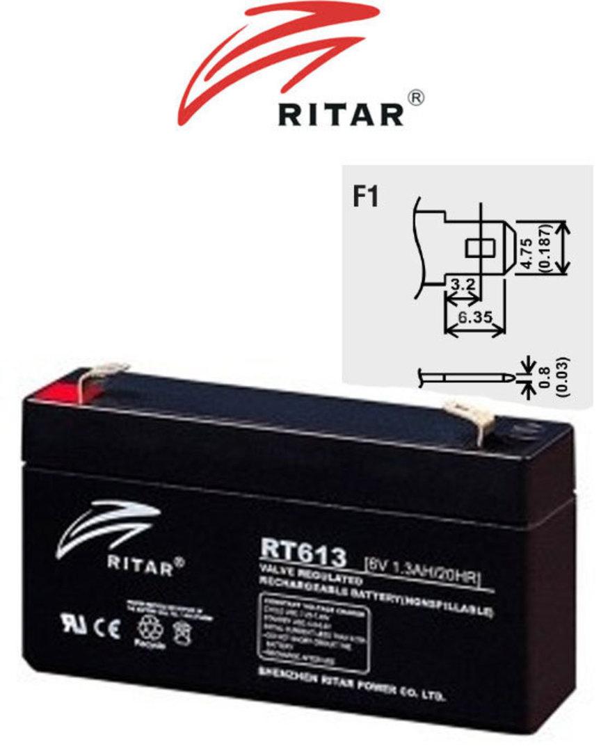 RITAR RT613 6V 1.3AH SLA battery image 0