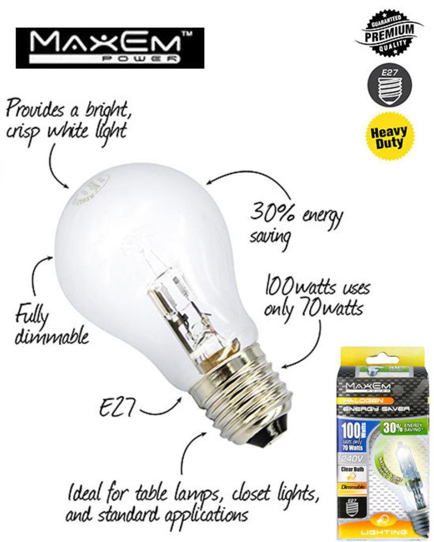 MAXEM 100W Halogen E27 Screw Clear Bulb 5PCS image 0
