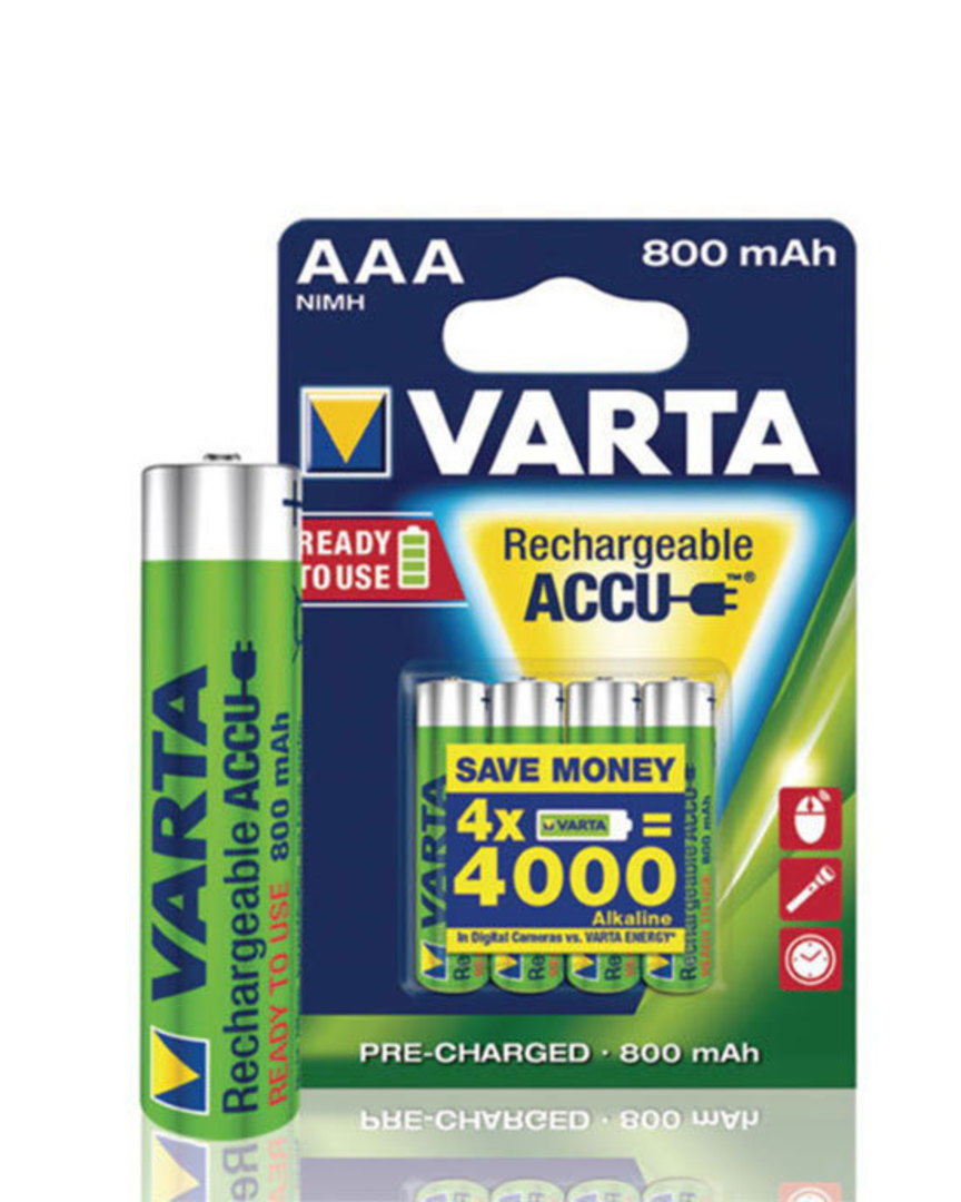VARTA Rechargeable Accu Pre-Charged AAA 800mAh image 0