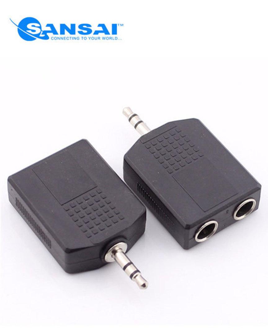 SANSAI 3.5mm Plug to 2 x 6.3mm Socket Stereo Adaptor image 0