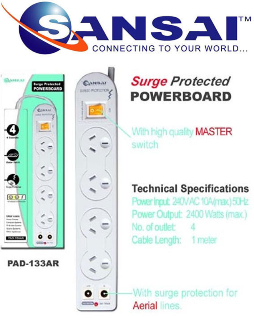 SANSAI 4 Way Surge Powerboard with TV line image 0