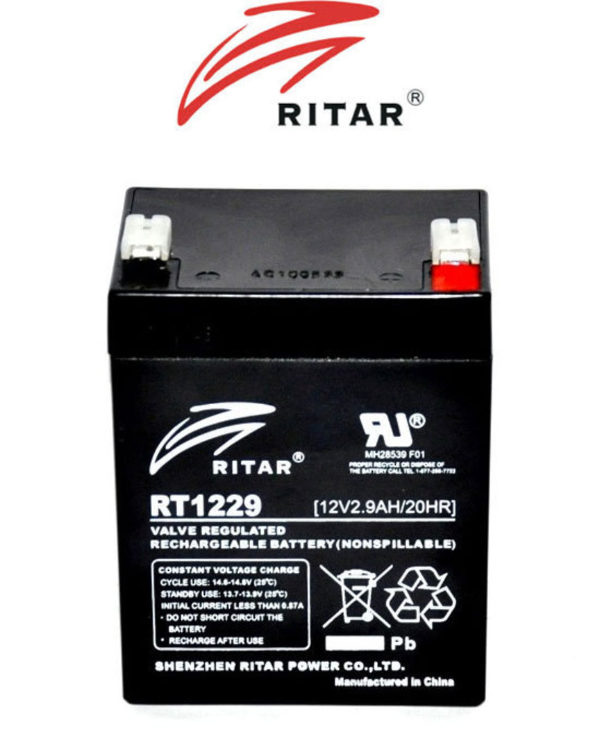 RITAR RT1229 12V 2.9AH SLA battery image 1
