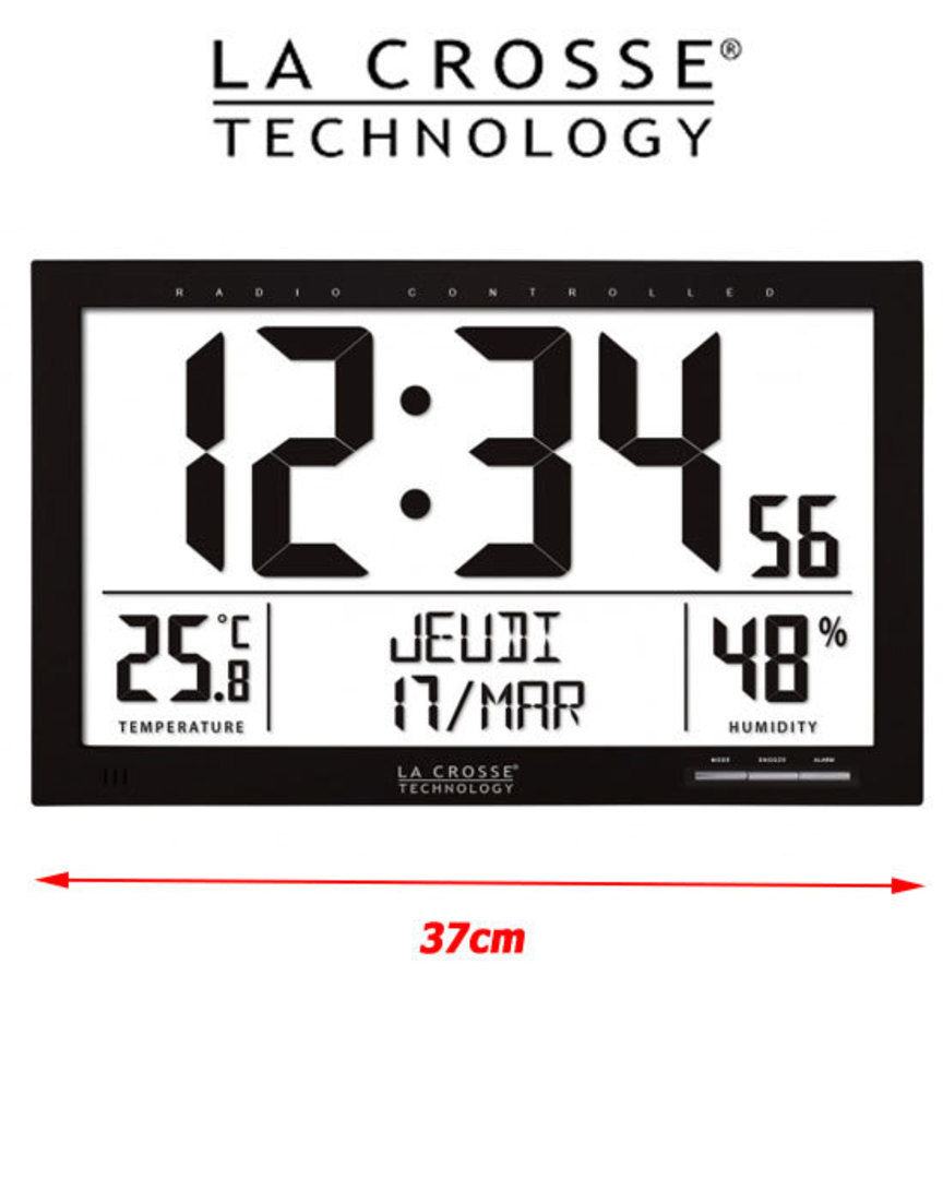 WS8013 La Crosse Large Wall Clock with Indoor Temperature Humidity image 0
