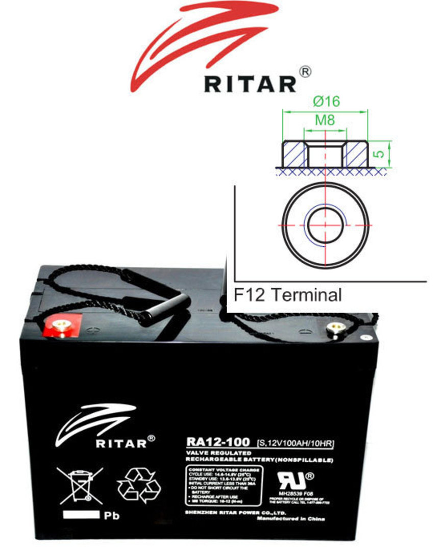 RITAR RA12-100S 12V 100AH SLA Battery image 0