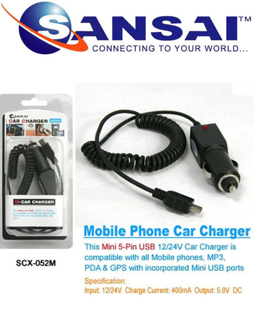 SANSAI mini USB Car Charger Compatible for all mini USB Uses image 0