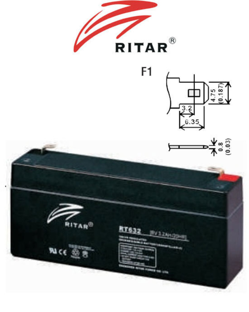 RITAR RT632 6V 3.2AH SLA battery image 0