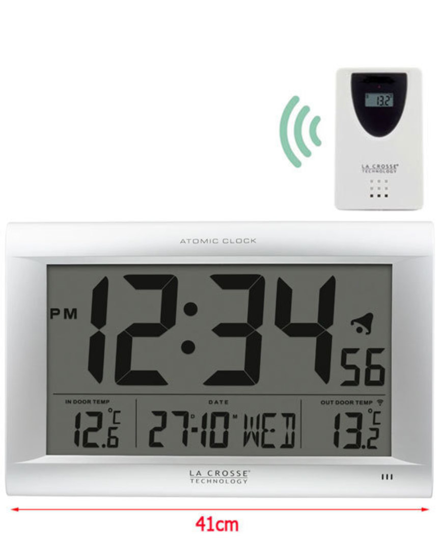 513-1311OT La Crosse Large Wall Clock with Outdoor Temp image 0