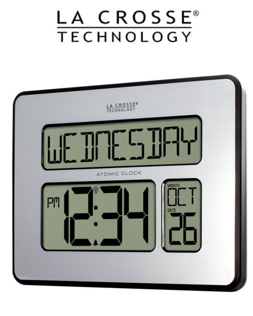 513-1419 La Crosse Digital Back Light Wall Clock with Day Display image 1