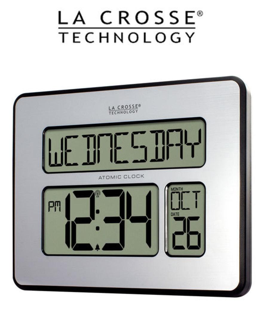 513-1419BLV4 La Crosse Digital Back Light Wall Clock with Day Display image 1
