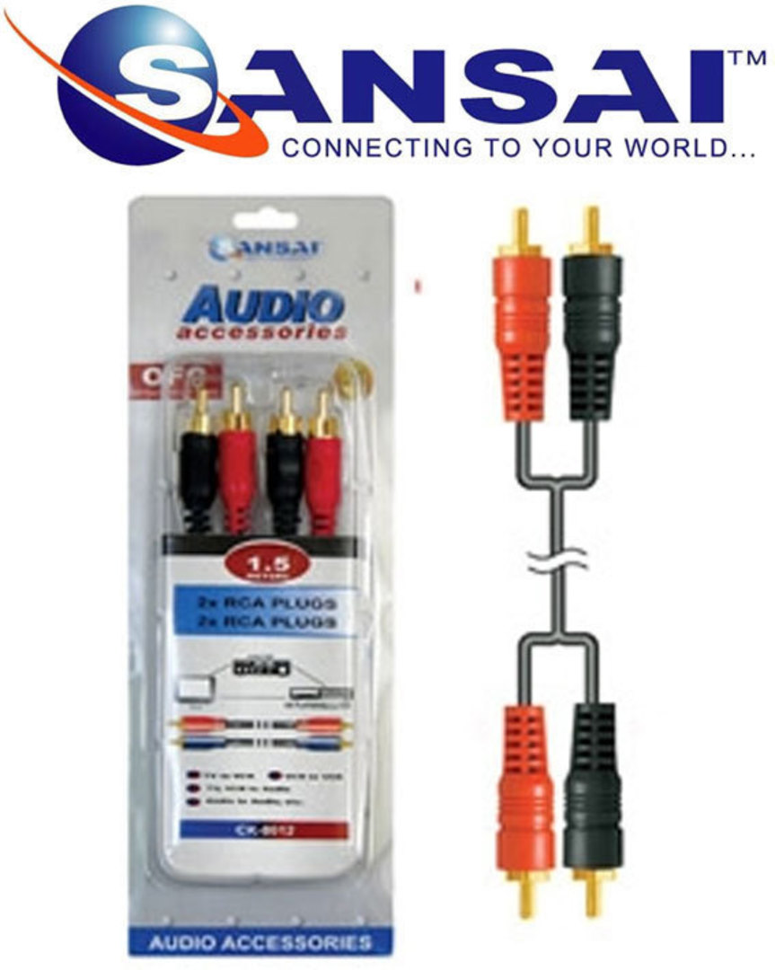 SANSAI 2 RCA Plugs to Plugs 1.5m image 1