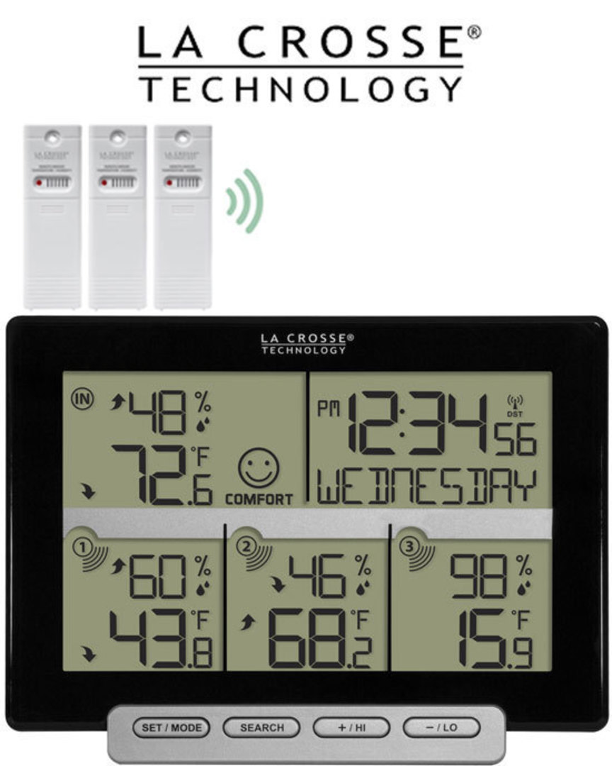 308-1412-3TX La Crosse Weather Station with 3 Remote Sensors image 0
