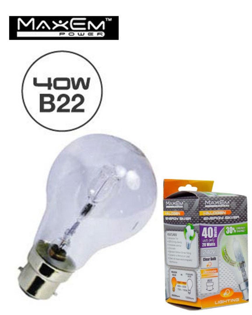 MAXEM 40W Halogen B22 Clear Bulb 5PCS image 0