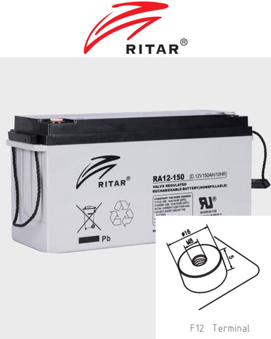 RITAR RA12-150SD 12V 150AH Deep Cycle SLA Battery image 0