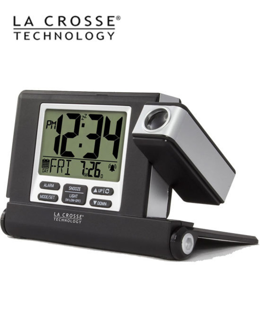 616-1908 Travel Projection Alarm Clock with Fold out Stand image 0
