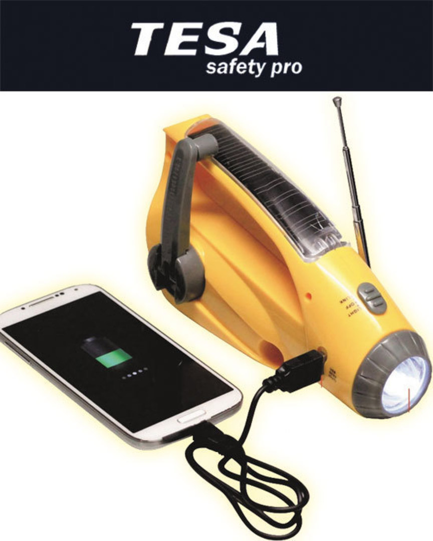 Dynamo Torch with USB Phone Charger Radio Emergency Alarm image 0