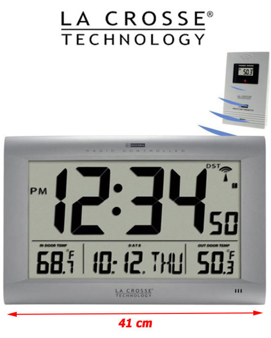 513-1311OT La Crosse Large Wall Clock with Outdoor Temperature image 0