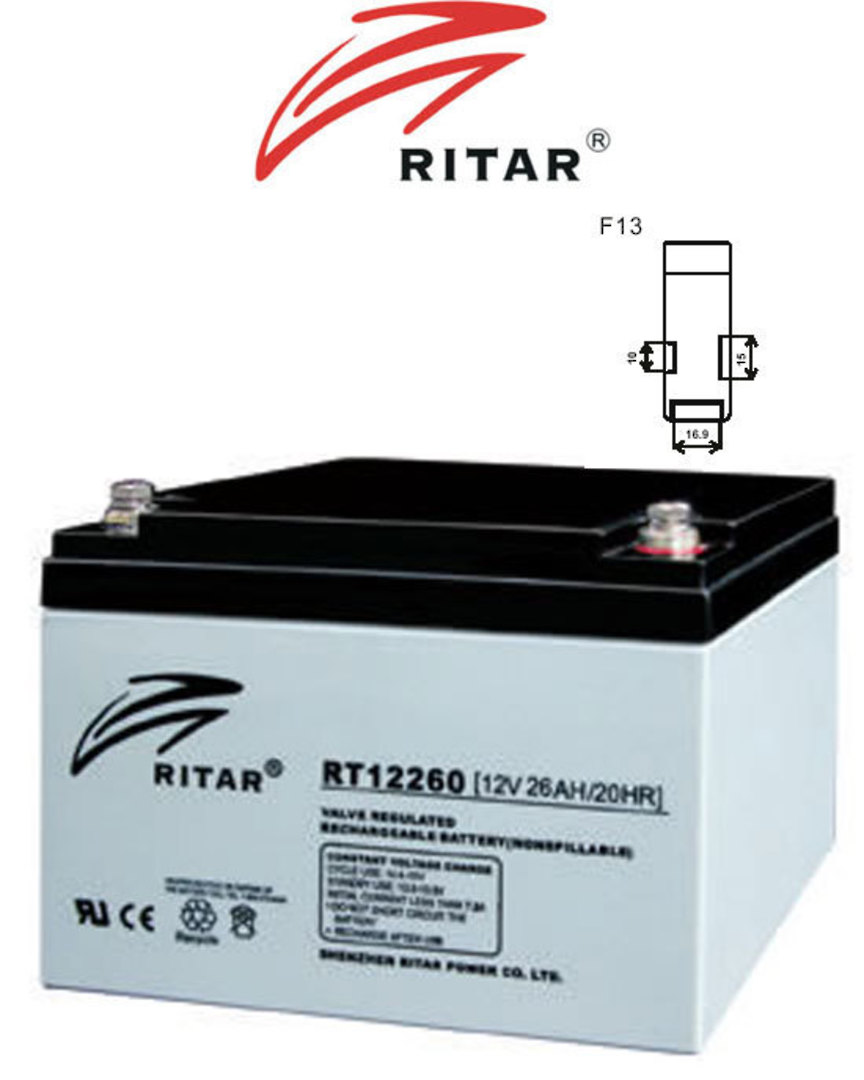 RITAR RT12260 12V 26AH SLA battery F13 Plug image 0