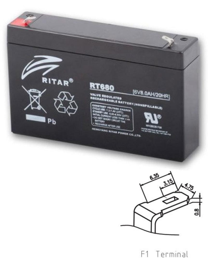 RITAR RT680 6V 8AH SLA battery image 0