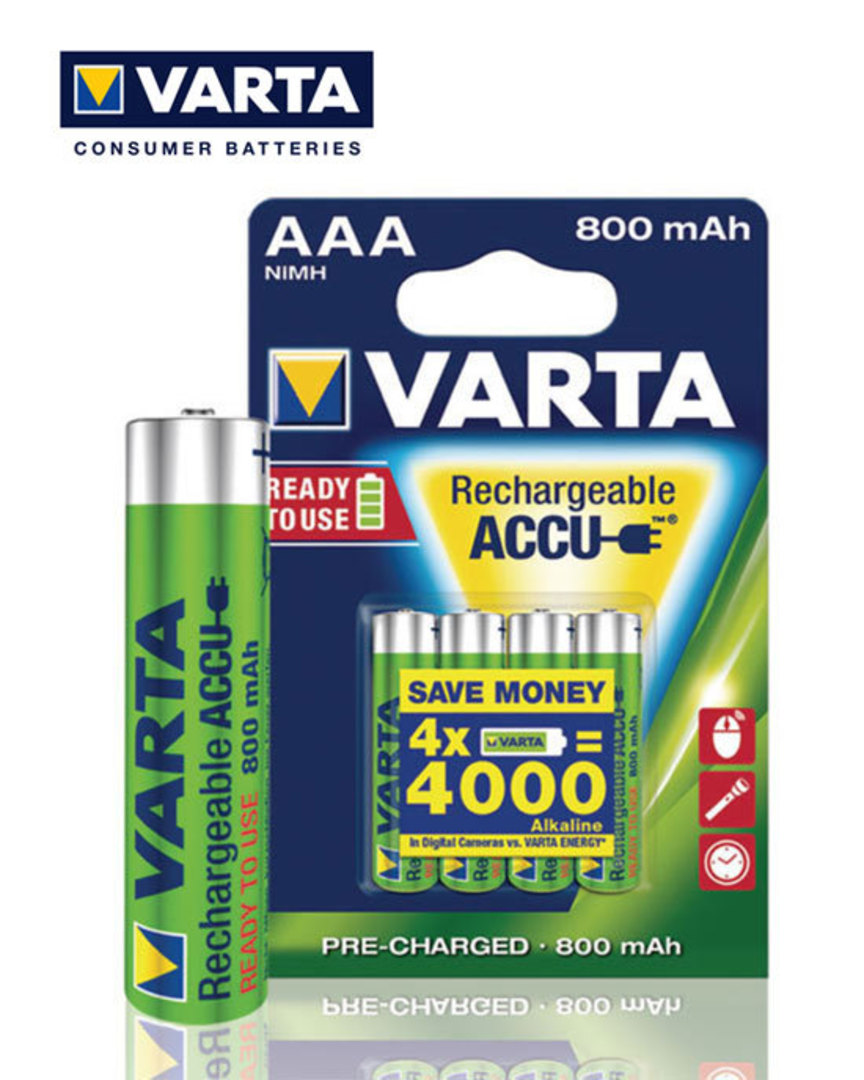 VARTA Rechargeable Accu Pre-Charged AAA 800mAh image 1