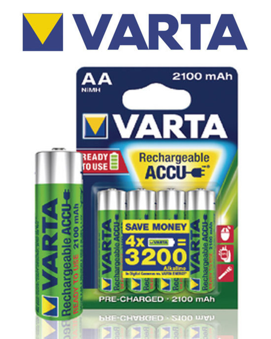 VARTA AA 2100mAh Pre-Charged NiMH Rechargeable Battery image 2