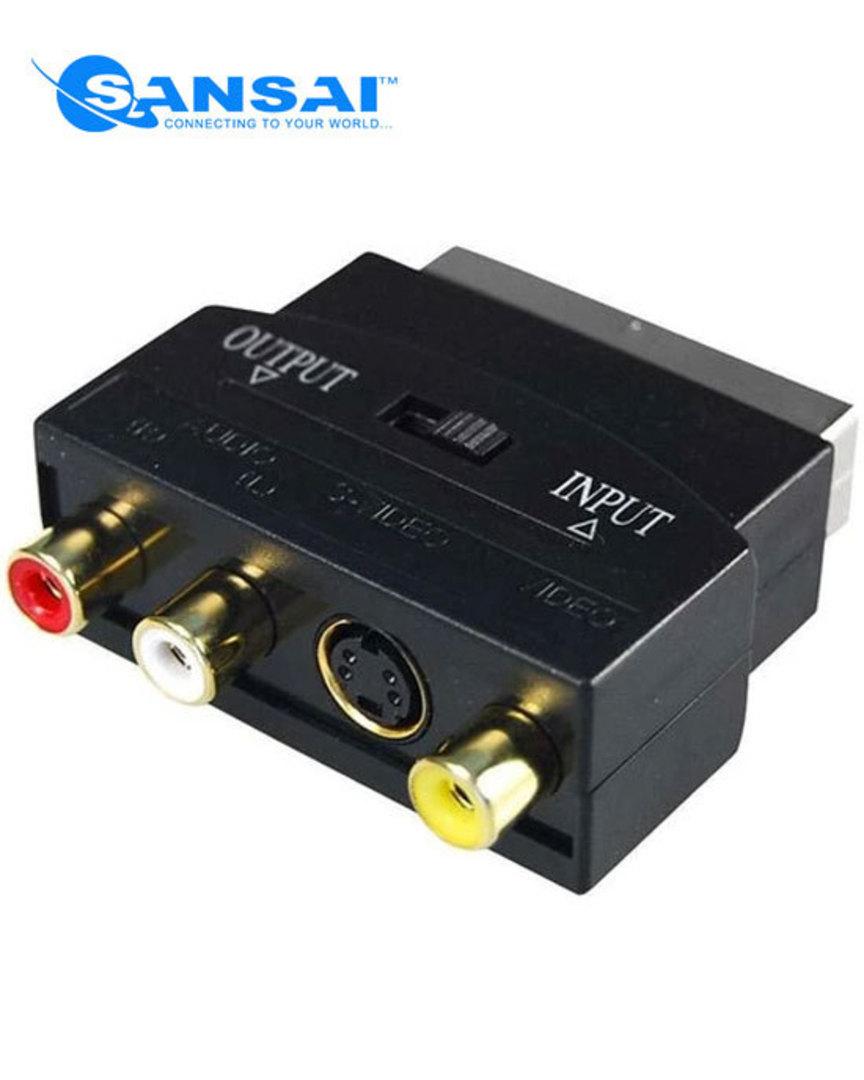 SANSAI SCART Plug to 3 RCA & S-VHS Socket Adaptor image 0