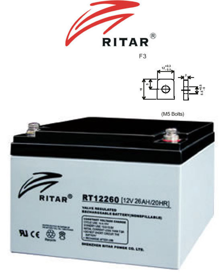 RITAR RT12260 12V 26AH SLA battery F3 Plug image 0
