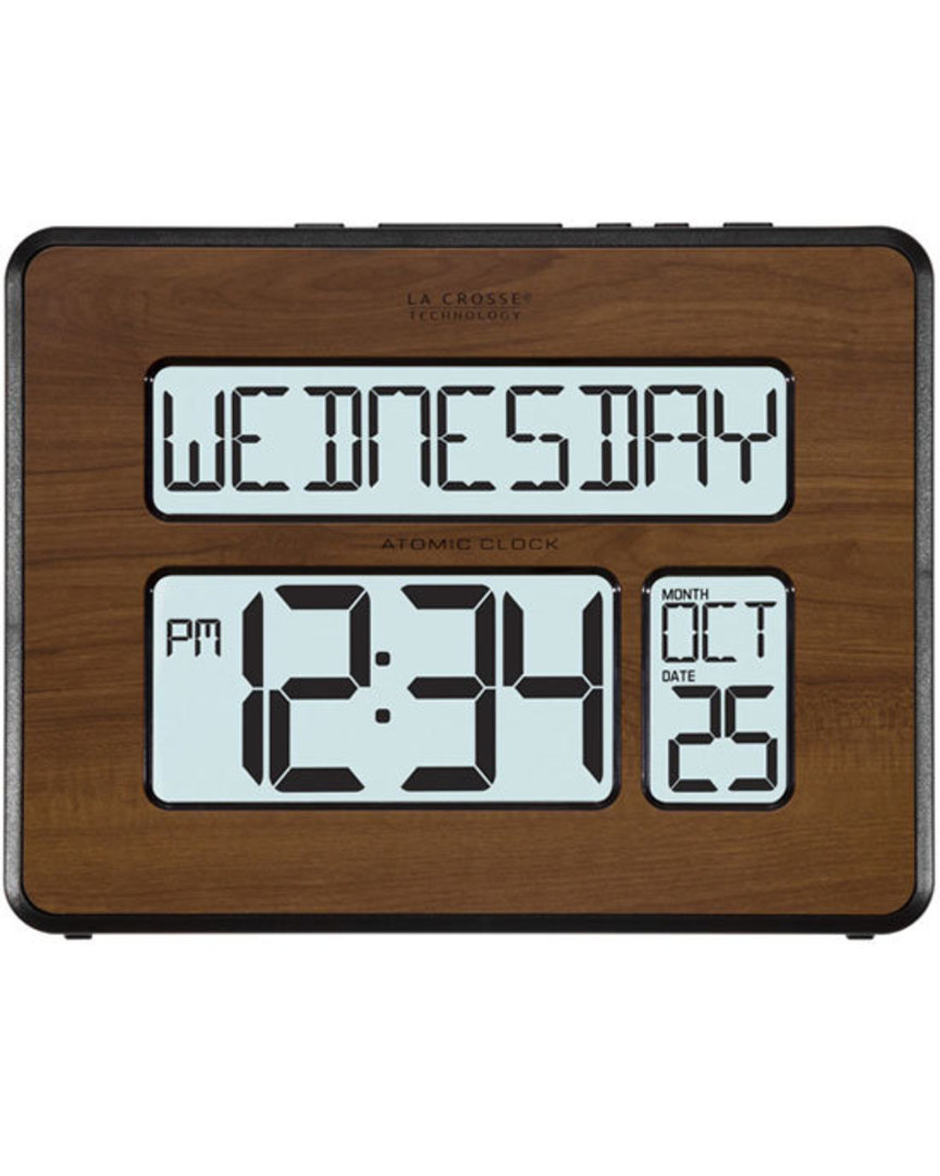 513-1419BL Wood Finished La Crosse Digital Back Light Wall Clock with Day Display image 0