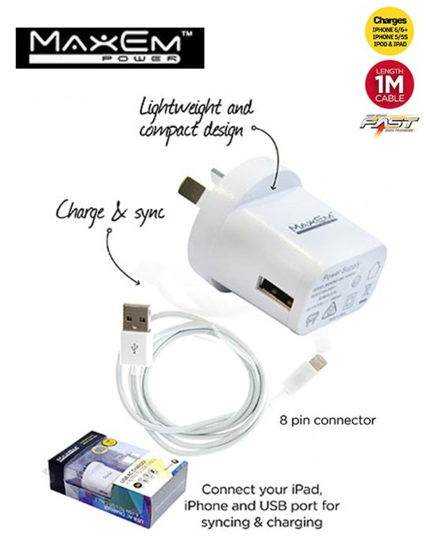 MAXEM USB Power Adaptor with Lightning Cable image 0