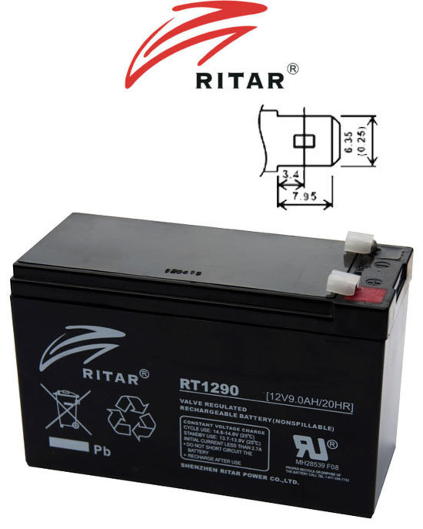 RITAR RT1290 12V 9AH SLA battery image 0
