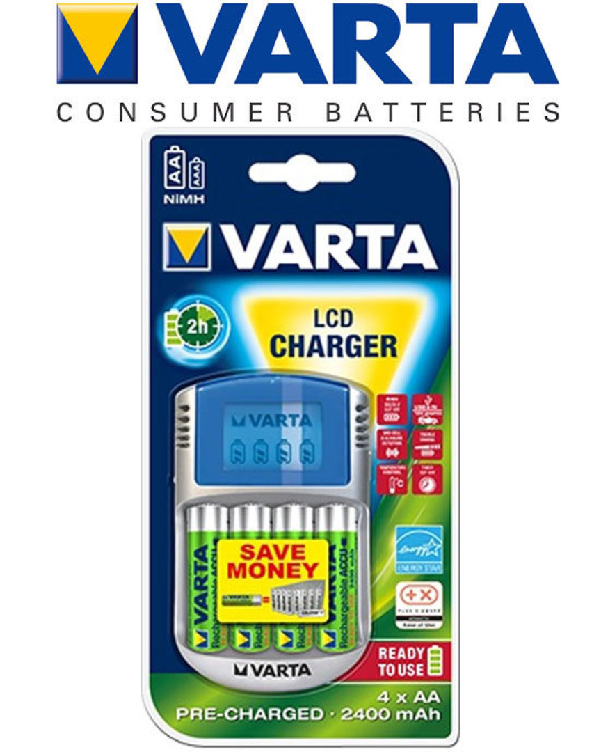 VARTA LCD Fast Charger with 4 AA Included image 0