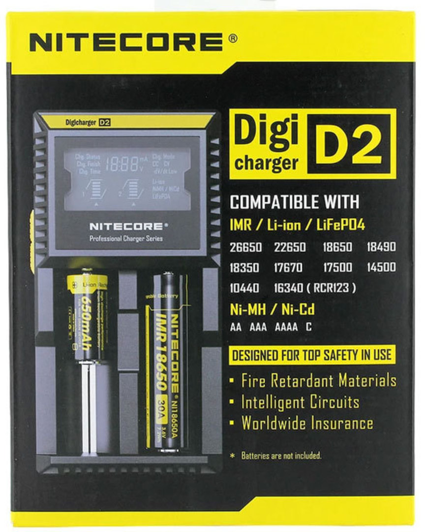 NITECORE D2 2 Bay Universal Digital Charger with Display image 0