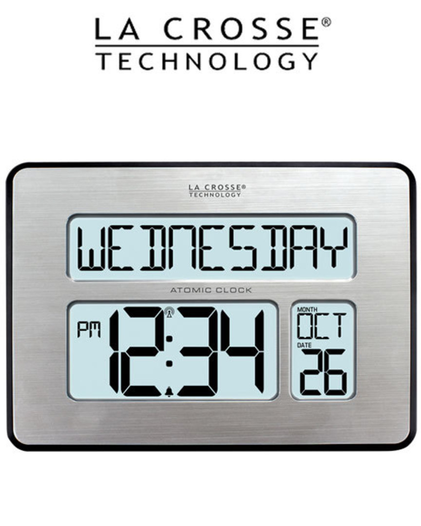 513-1419 La Crosse Digital Back Light Wall Clock with Day Display image 0