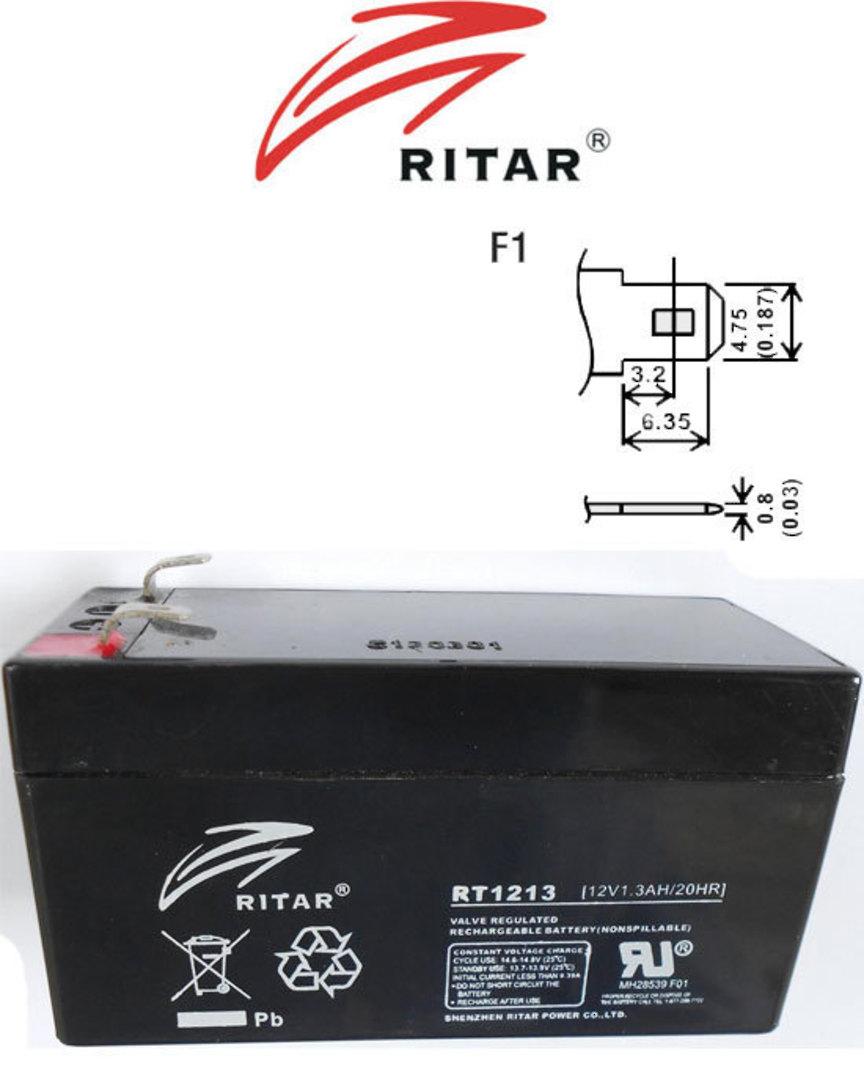 RITAR RT1213 12V 1.3AH SLA battery image 0