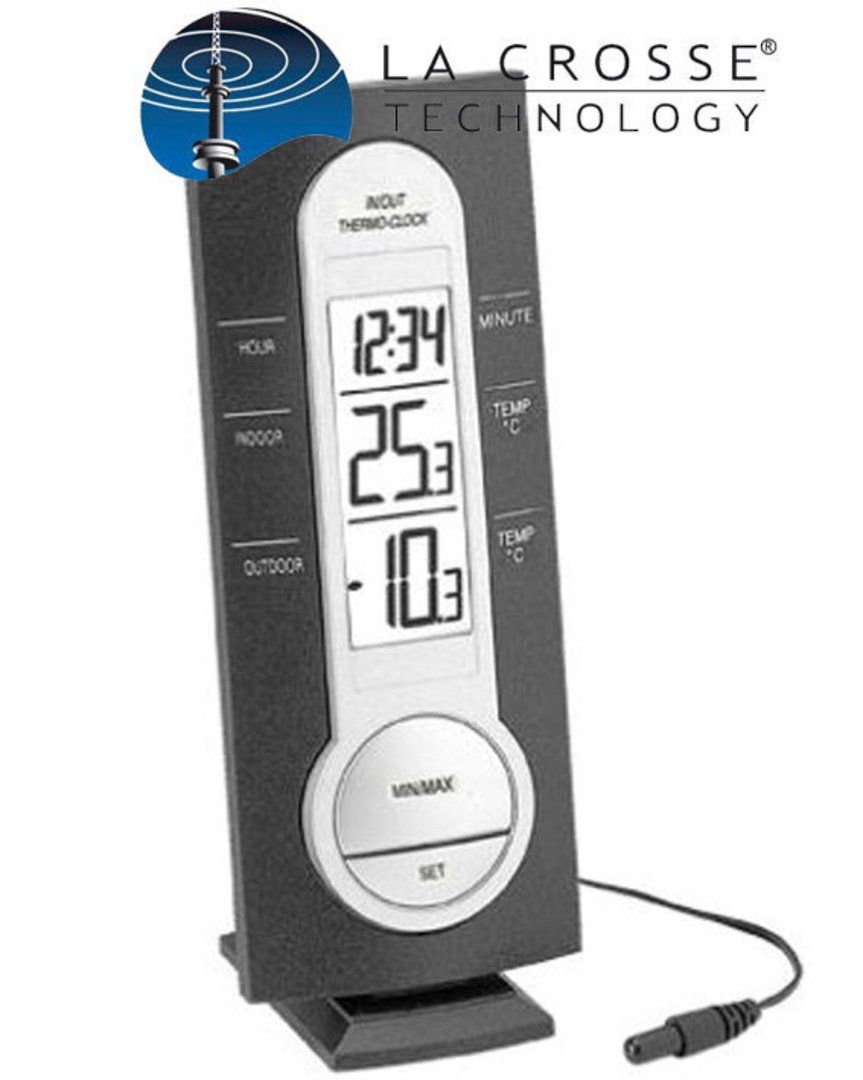 WS7033 La Crosse Thermometer and Clock Station image 0
