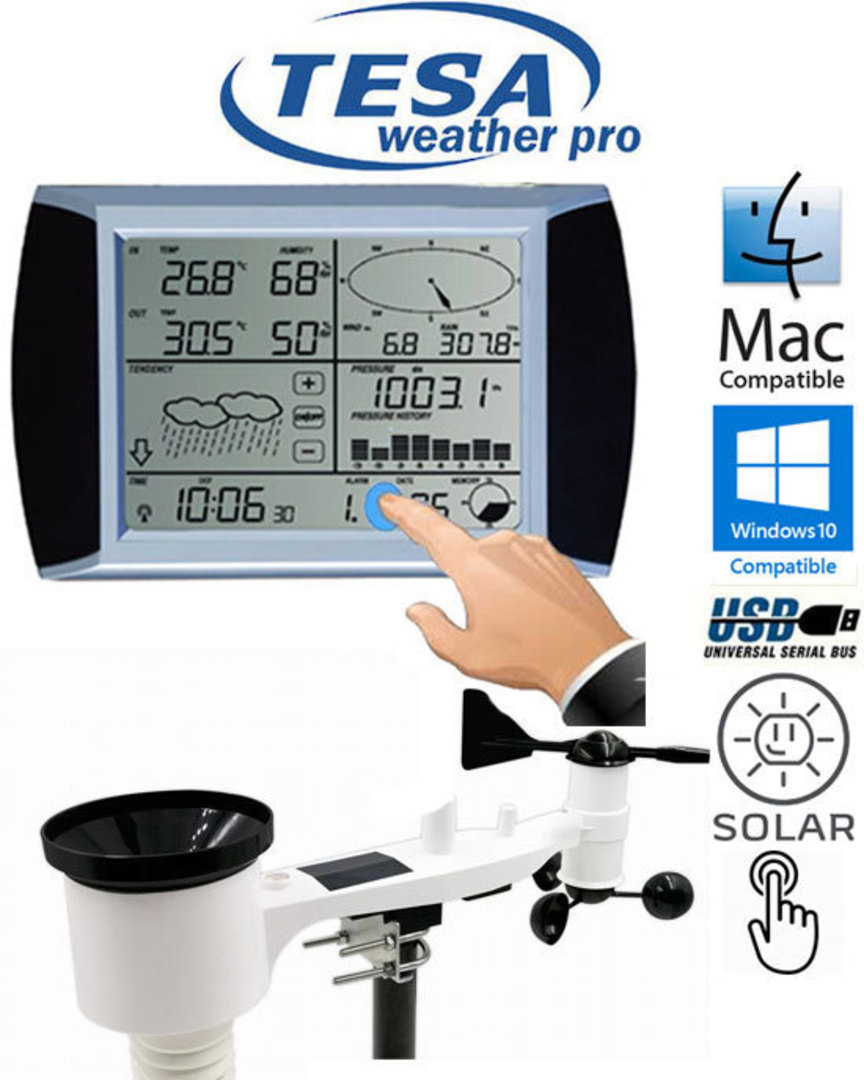 WS1081 TESA Touch Screen Panel Weather Center with PC interface image 0