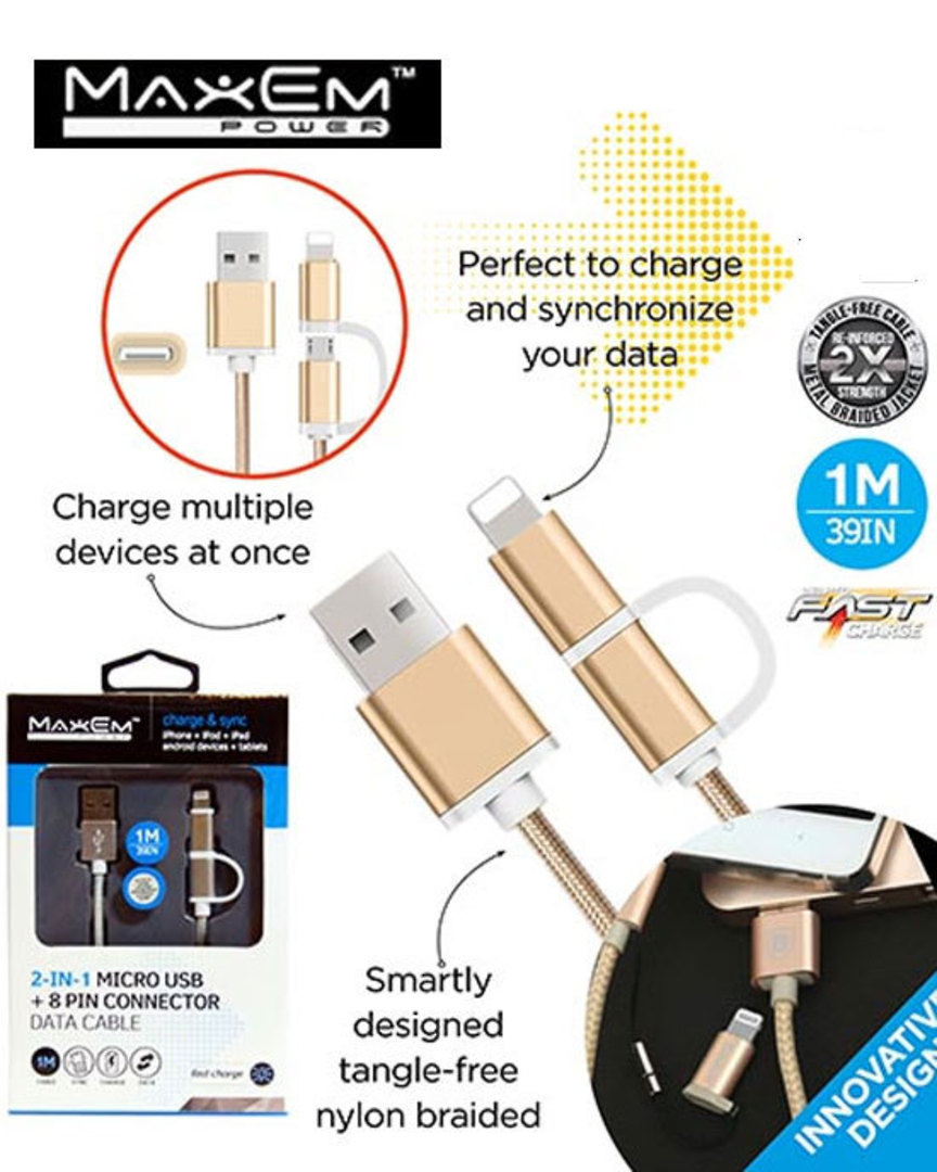MAXEM 2in1 Micro USB Lightning USB Cable image 0
