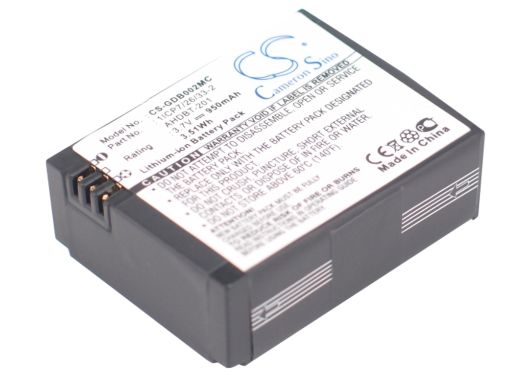 GOPRO HERO3 1ICP7/26/33-2, 601-00724-00A, AHDBT-201 Compatible Battery image 0