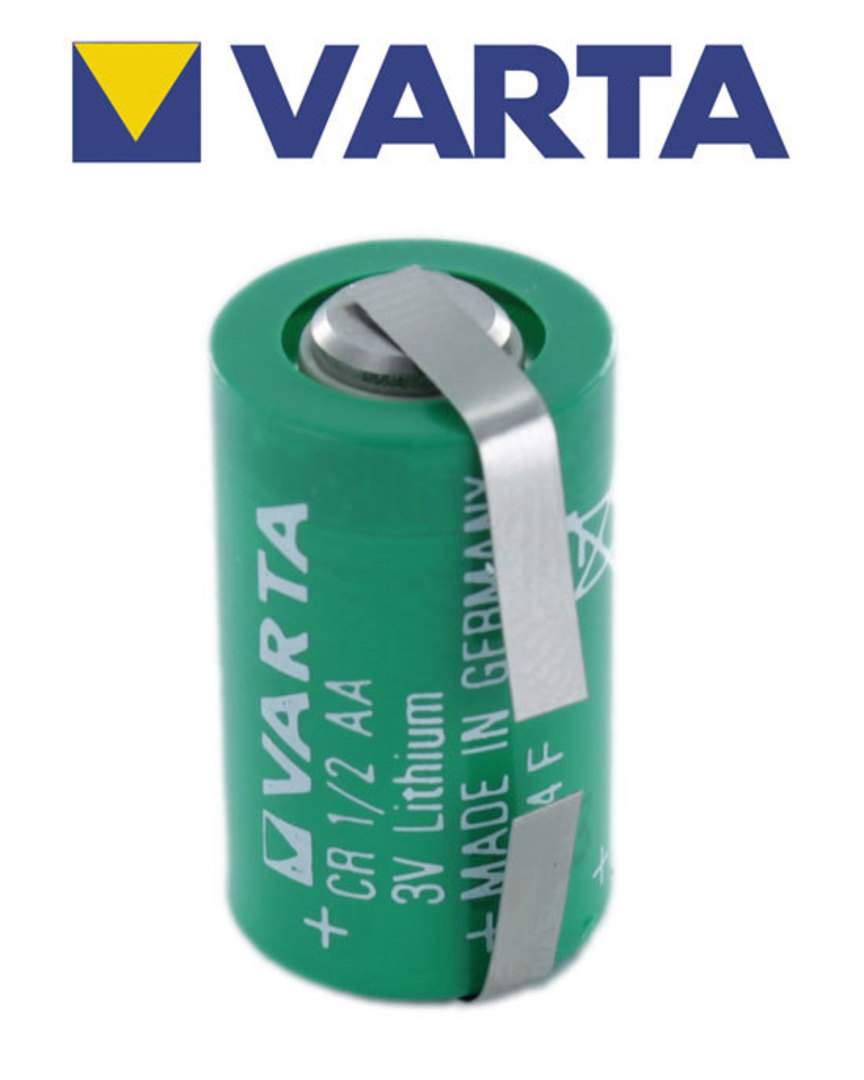 VARTA CR1/2AA Lithium Battery with Solder Tags image 1