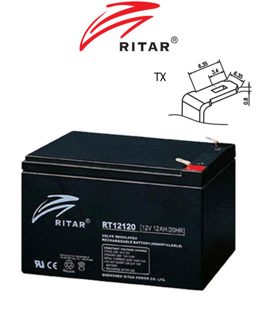 RITAR RT12120 12V 12AH SLA battery image 0