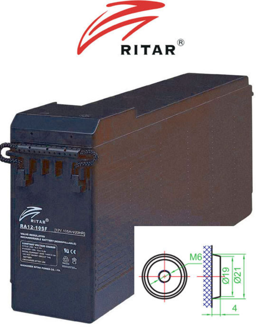 RITAR RA12-125F 12V 125Ah Battery Front Terminal SLA Battery image 0