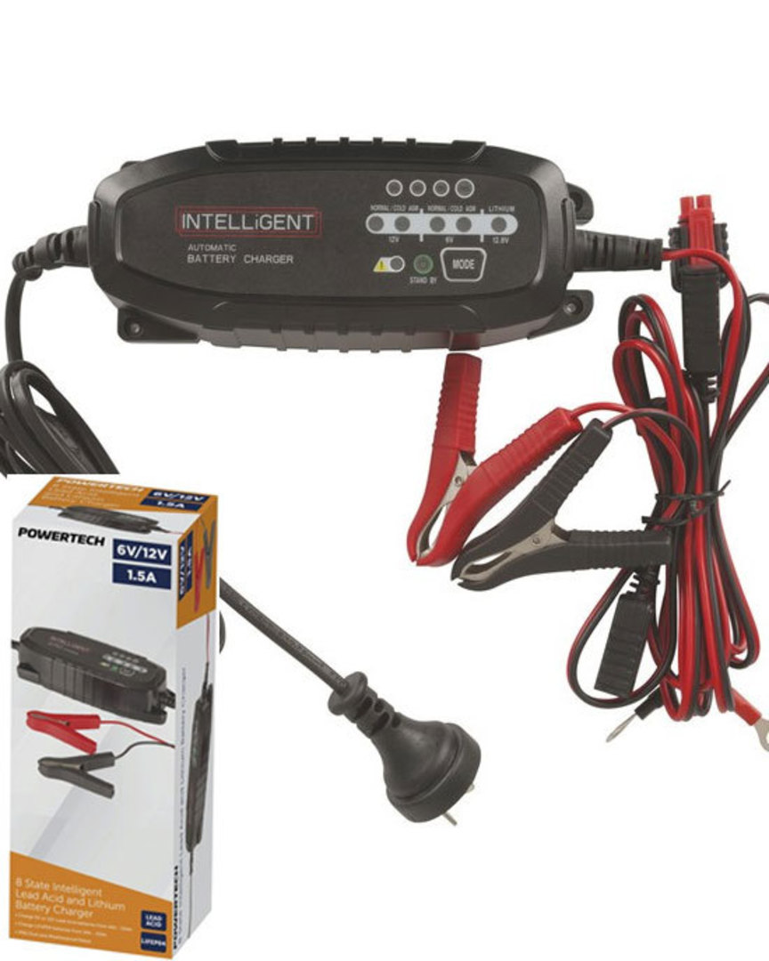 POWERTECH 6V 12VDC 1.5A Intelligent SLA and Lithium Battery Charger image 0