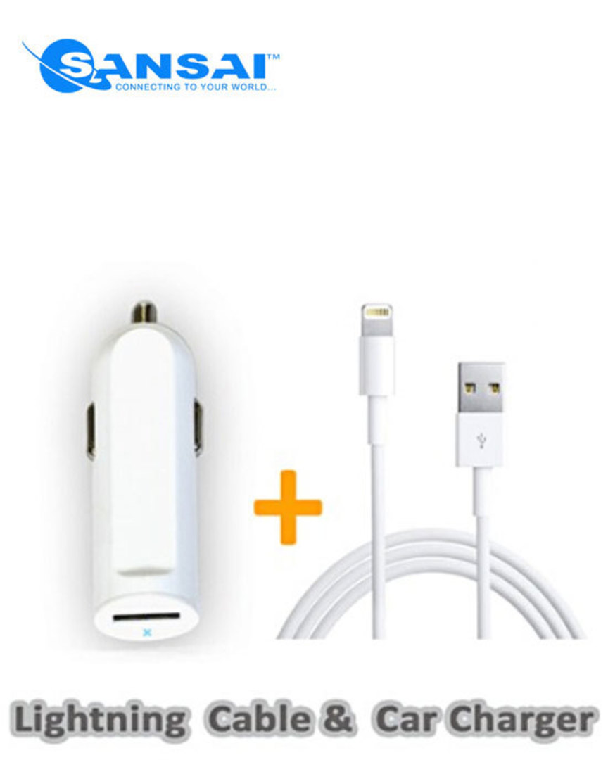 SANSAI Lightning to USB Cable with Car Adaptor image 0